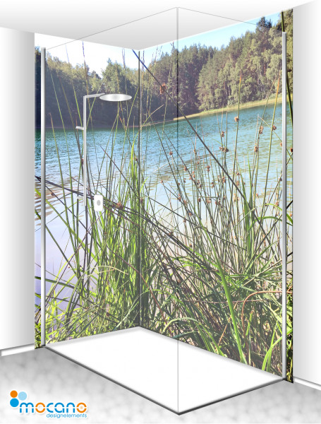 Duschrückwand Eck-Set Waldsee 3 200x210cm - Wohnbeispiel