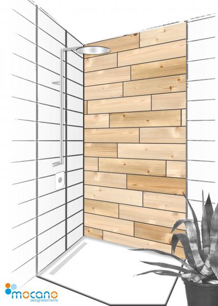 Duschrückwand Dekor Holzoptik 90x210cm - Wohnbeispiel