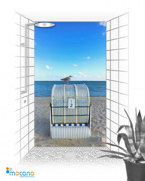 Duschrückwand Strandkorb mit Möv 120x210cm - Wohnbeispiel