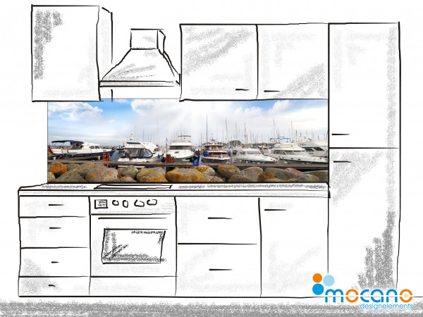 Küchenrückwand Yachthafen Panorama 200x60cm - Wohnbeispiel