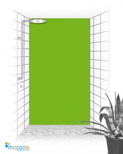 Duschrückwand Frühlingsgrün einfarbig UNI - Wohnbeispiel