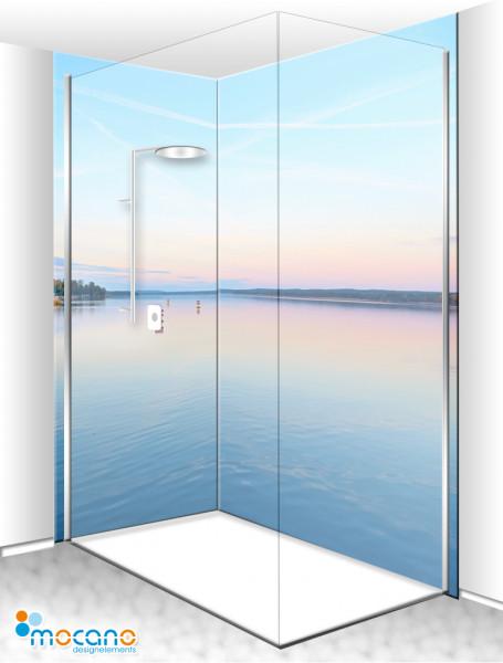 Duschrückwand Eck-Set Sonnenaufgang am See 200x210cm - Wohnbeispiel