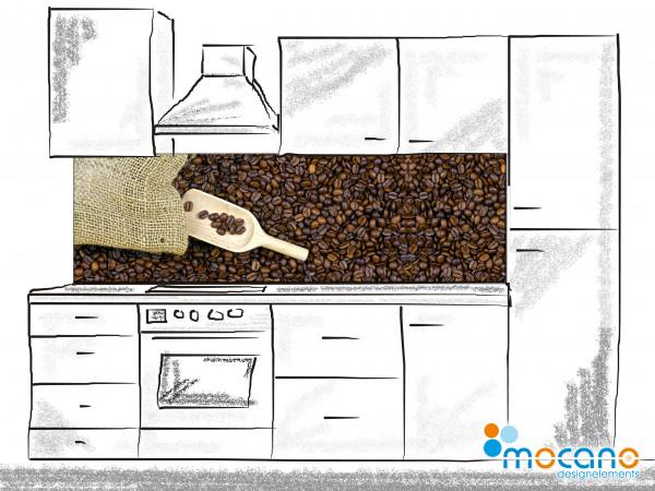 Küchenrückwand Kaffeebohnen aus dem Sack 200x60cm - Wohnbeispiel