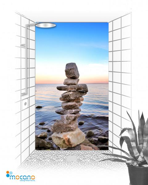 Steinstapel am Meer 120x210cm Duschrückwand - Wohnbeispiel