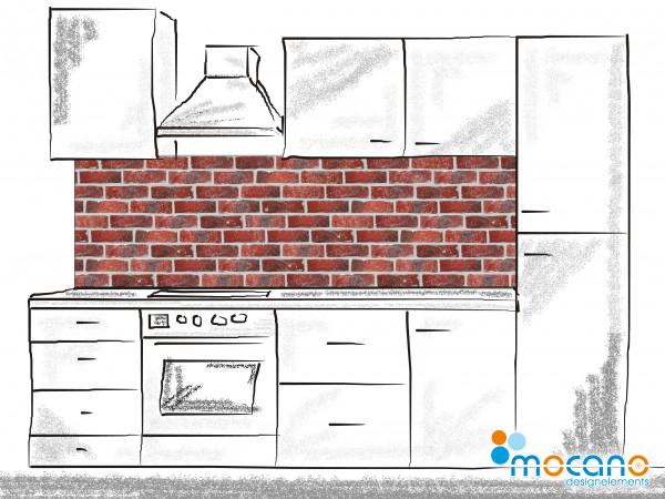 Küchenrückwand Ziegelwand - 200x60cm Wohnbeispiel