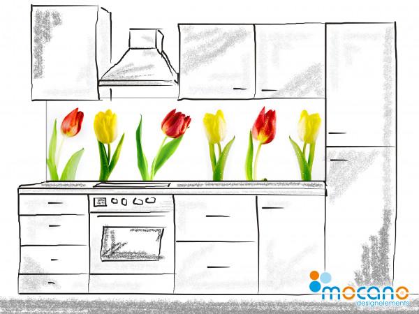 Küchenrückwand Tulpen Panorama 200x60cm - Wohnbeispiel
