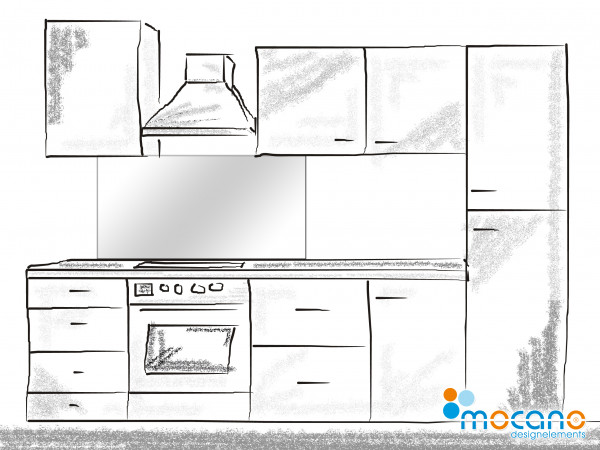 Küchenrückwand Weiß einfarbig UNI 120x50cm - Wohnbeispiel