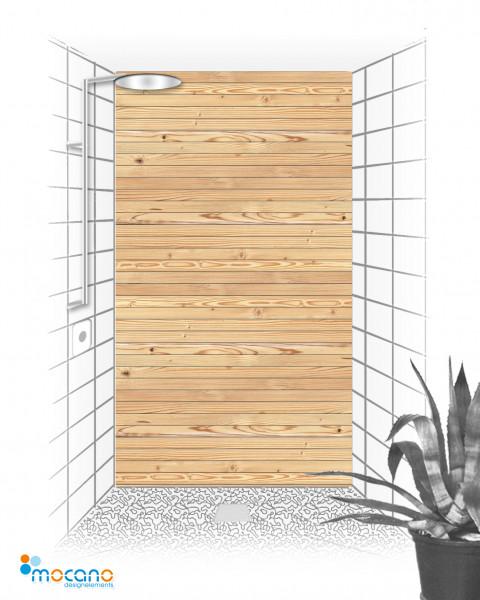 Duschrückwand Holzoptik Zirbe 120x210cm - Wohnbeispiel