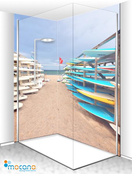 Duschrückwand Eck-Set Beach Day 200x210cm - Wohnbeispiel