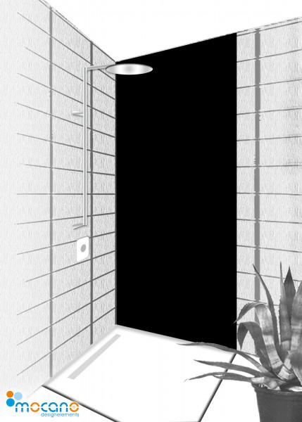 Duschrückwand Schwarz 80x210cm einfarbig UNI - Wohnbeispiel