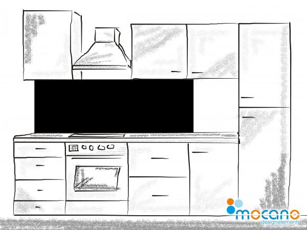Küchenrückwand Schwarz einfarbig UNI 180x60cm - Wohnbeispiel