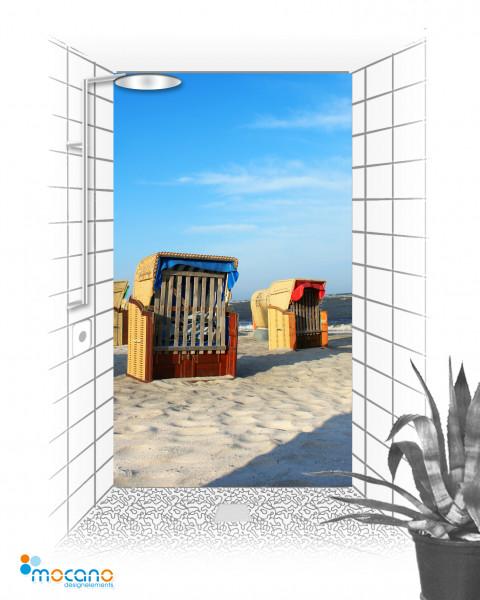 Duschrückwand Strandkorb 9 120x210cm - Wohnbeispiel
