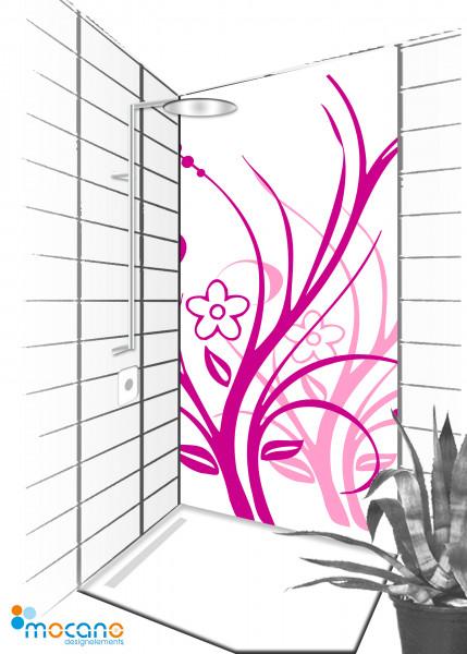 Duschrückwand Lila Florale Ornamente 90x210cm - Wohnbeispiel