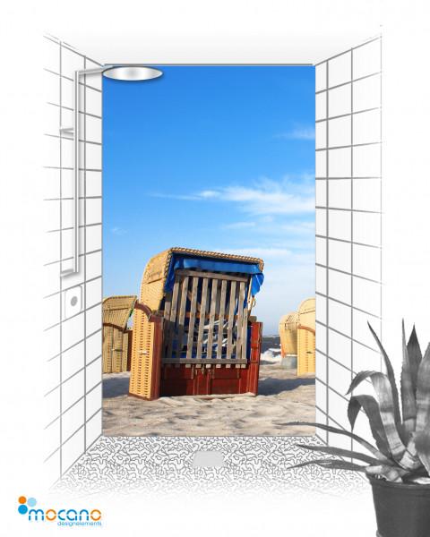 Duschrückwand Strandkorb 10 120x210cm - Wohnbeispiel