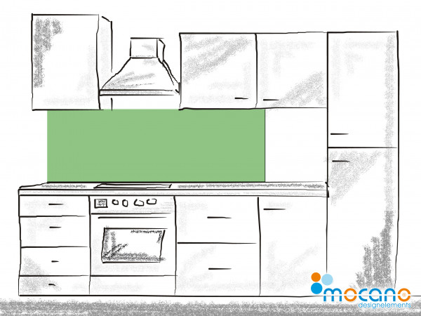 Küchenrückwand Avocado Grün einfarbig UNI 180x60cm - Wohnbeispiel