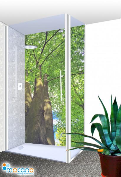 Duschrückwand Baumkrone 2 - 100x210cm - Wohnbeispiel