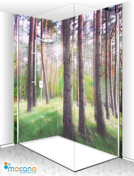 Duschrückwand Eck-Set Mystischer Wald 200x210cm - Wohnbeispiel