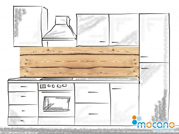 Küchenrückwand Holzoptik Rustikal 2 - 200x50cm - Wohnbeispiel