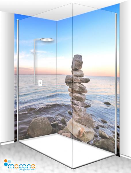 Duschrückwand Eck-Set Steinstapel am Meer 200x210cm - Wohnbeispiel