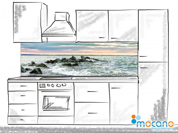 Küchenrückwand Brandung am Timmendorfer Strand 200x60cm - Wohnbeispiel