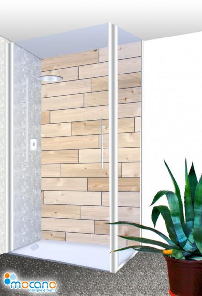 Duschrückwand - Dekor Holzfliese Wohnbeispiel