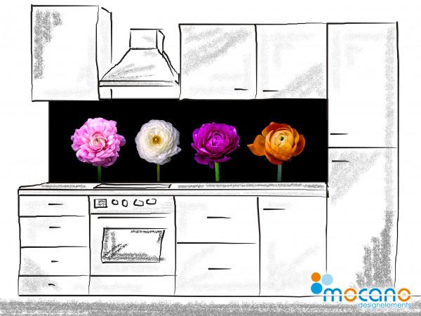 Küchenrückwand Blumen Ranunkeln 200x60cm - Wohnbeispiel