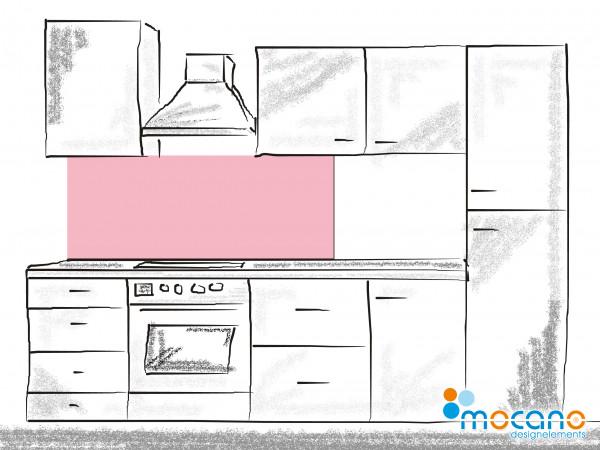 Küchenrückwand Hell Rosa einfarbig UNI 150x60cm - Wohnbeispiel