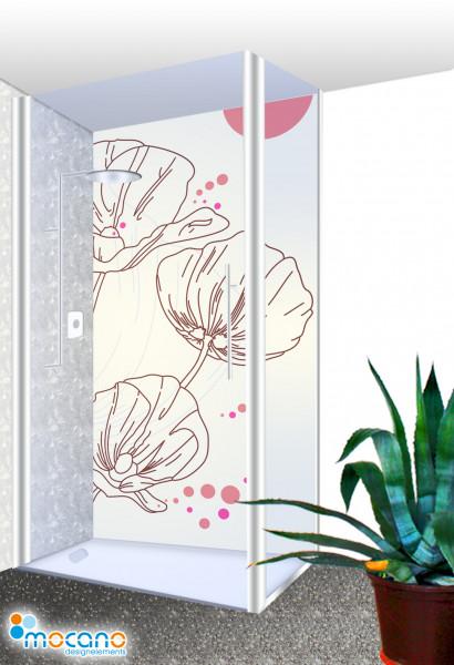 Duschrückwand - Design Mohnblumen Wohnbeispiel