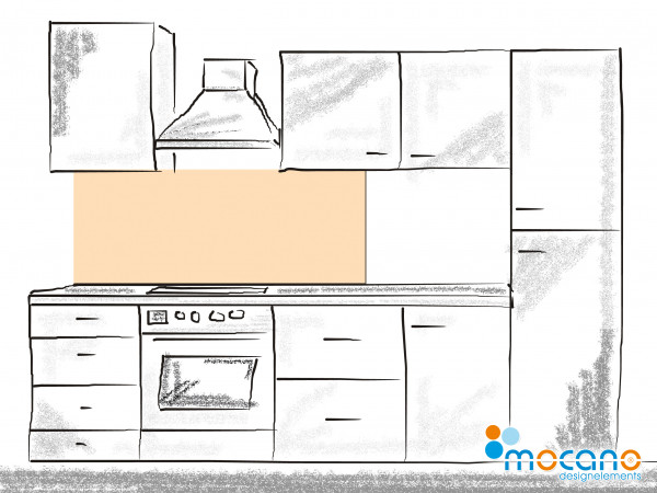 Küchenrückwand Pastel Peach einfarbig UNI 150x50cm - Wohnbeispiel