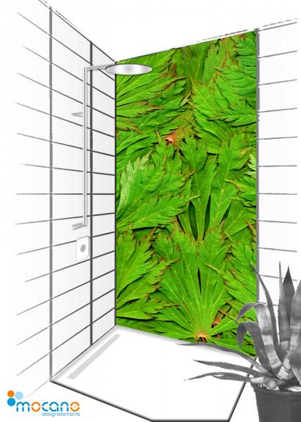 Duschrückwand Blätter Dschungel 90x210cm - Wohnbeispiel