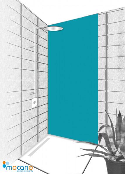 Duschrückwand Meer Blau 80x210cm einfarbig UNI - Wohnbeispiel