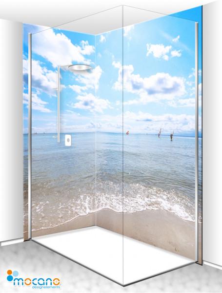 Duschrückwand Eck-Set Wellen am Strand 200x210cm - Wohnbeispiel