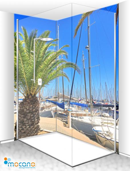 Duschrückwand Eck-Set Yachthafen Palmen 200x210cm - Wohnbeispiel