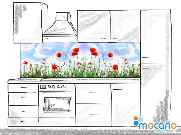 Küchenrückwand Mohnfeld 200x60cm - Wohnbeispiel