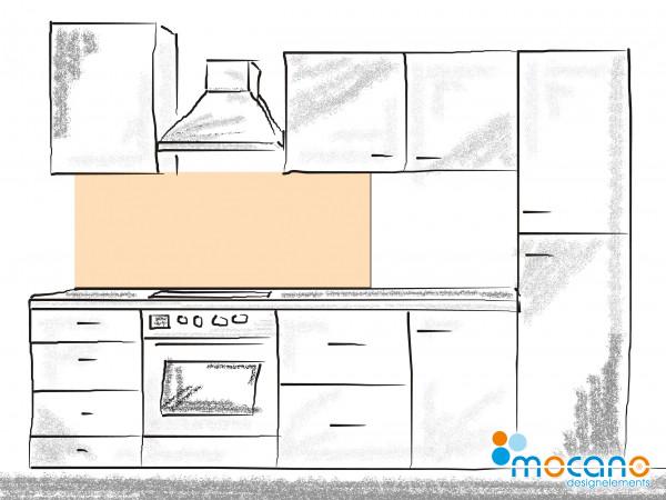 Küchenrückwand Pastel Peach einfarbig UNI 150x60cm - Wohnbeispiel