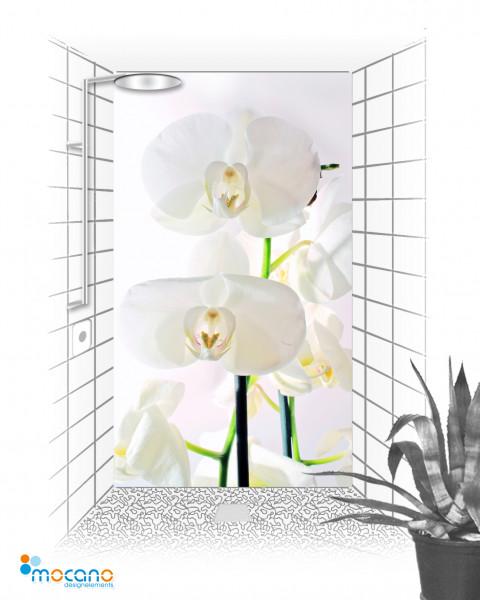 Duschrückwand Weiße Orchideen 10 120x210cm - Wohnbeispiel