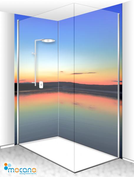 Duschrückwand Eck-Set Sonnenuntergang am See 200x210cm - Wohnbeispiel
