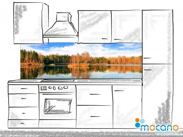 Küchenrückwand Insel See 200x60cm - Wohnbeispiel