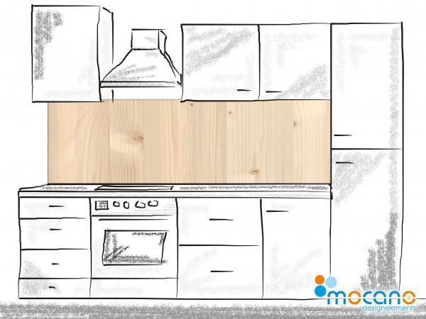 Küchenrückwand Holzoptik Fichte - 200x60cm Wohnbeispiel