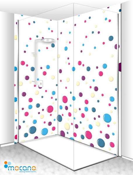 Duschrückwand Eck-Set Colour Bubbles 200x210cm - Wohnbeispiel