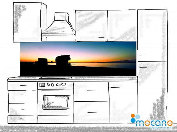 Küchenrückwand Timmendorfer Strand im Sonnenuntergang 200x60cm - Wohnbeispiel