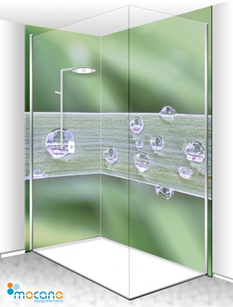 Duschrückwand Eck-Set Wassertropfen 200x210cm - Wohnbeispiel