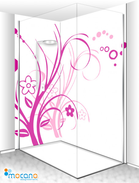 Duschrückwand Eck-Set - Lila Florale Ornamente - Wohnbeispiel