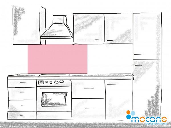 Küchenrückwand Hell Rosa einfarbig UNI 120x50cm - Wohnbeispiel