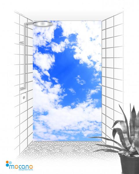 Wolken Panorama - 120x210cm Duschrückwand - Wohnbeispiel