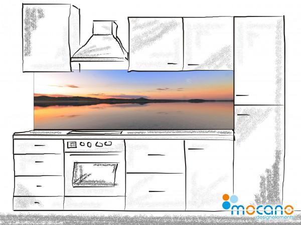 Küchenrückwand Panorama Sonnenuntergang 200x60cm - Wohnbeispiel