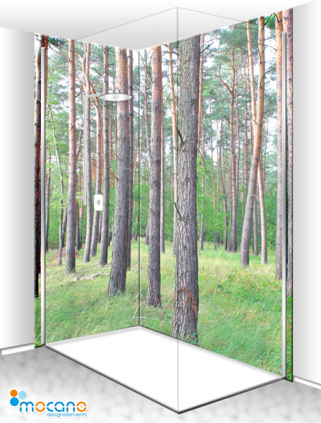 Duschrückwand Eck-Set Waldblick 2 200x210cm - Wohnbeispiel