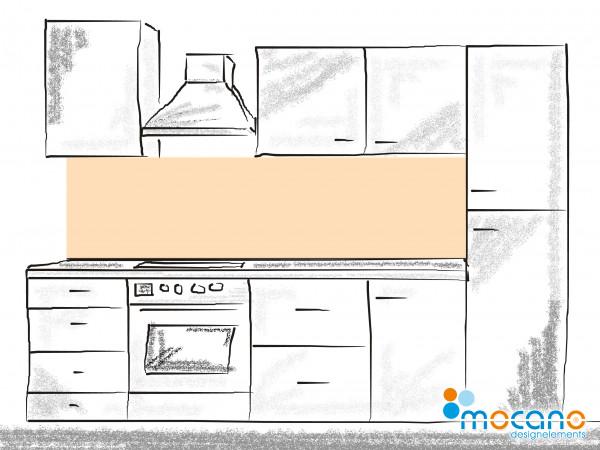 Küchenrückwand Pastel Peach einfarbig UNI 200x60cm - Wohnbeispiel