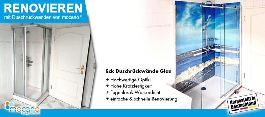 Bad Sanierung mit Eck Duschrückwänden in Glas als fugenlose Wandverkleidung
