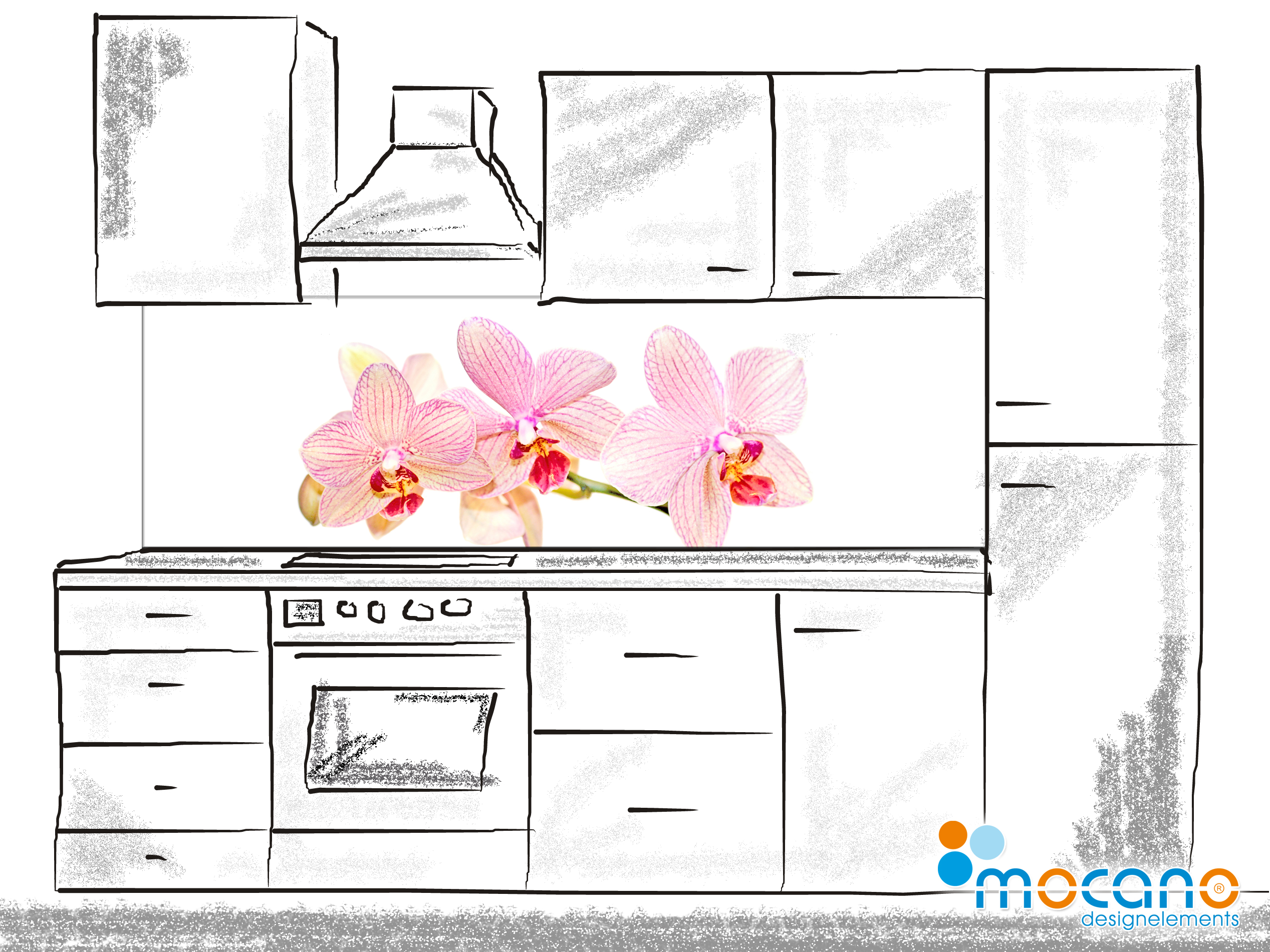 Ruckwand kuche glas orchidee for Motive fur kuchenruckwand
